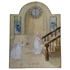 1890-1920's Watercolor Painting on Cardboard Titled, Up to Bed, Highlights Silk Backing