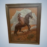 Leather Cowboy Painting Rescued Calf on Horse Hand Tooled Monogrammed by Artist