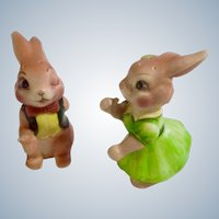 Bunny Rabbit Anthropomorphic Salt & Pepper Shakers Made in Japan Ceramic Figurines