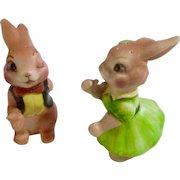 Vintage Anthropomorphic Bunny Rabbit Salt & Pepper Shakers Made in Japan Ceramic Figurines