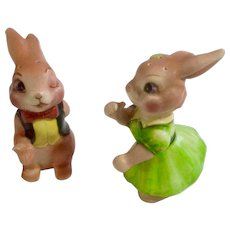 Vintage Anthropomorphic Bunny Rabbit Salt & Pepper Shakers Made in Japan Ceramic Figurines