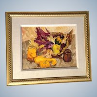 Cornucopia Harvest, Original Oil Painting on Board with Fruit and Canned Items Signed by Artist