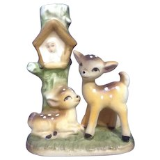 Original Holt Howard Candle Holder Rare 1963 Mother Mary and Baby Fawn Deer Figurine
