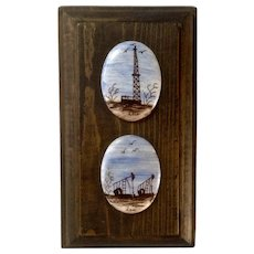 Small Painting of Oil Well and Pump Stations Painted on Oval Porcelain Signed by Artist Lou