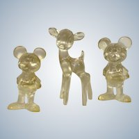 Lucite Mickey Mouse &  Bambi Figurines Vintage Walt Disney Productions