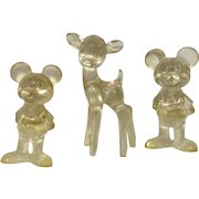 Vintage Walt Disney Productions Lucite Mickey Mouse and Bambi Figurines