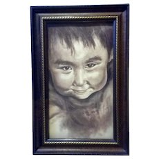 Portraiture of Young Boy Pastel Drawing Works on Paper