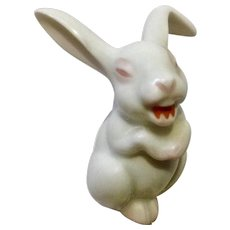 Rosenthal Small Laughing Bunny Rabbit Max Fritz's Discontinued Pink and White Germany Porcelain Figurine 2 inch