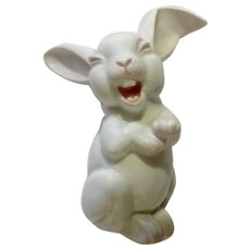 Rosenthal Laughing Bunny Rabbit Max Fritz's Discontinued Pink and White Germany Porcelain Figurine 5-1/2 inch