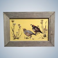 Wilbs Painting California Quail, Signed by Artist, Barnwood Frame, Verre églomisé, Hinterglasmalerei Original Reverse Glass Painting,