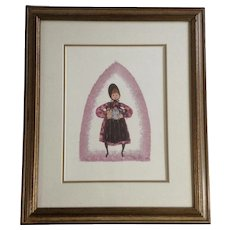 P Buckley Moss, Titled, Barbara's Girls, Limited Edition Lithograph Print Signed & Numbered 349/1000 Original Certificate 1985