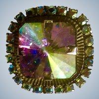 Vintage Aurora Borealis Rhinestone Pin Costume Jewelry 1960's-1970's