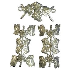 Vintage Candleholder Grape Cluster Silver Tone Metal Table Centerpiece 3 pc Attachment  For Small Taper Candles