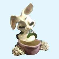 Mid-Century Head Vase Bunny Rabbit Spaghetti Trim Pottery Planter Figurine