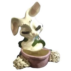 Retro Headvase Spaghetti Large Trim Bunny Rabbit Pottery Planter Mid-Century Rare Easter Figurine