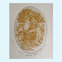 Marsha K Howe, Etching Print Gamble Quail Numbered Limited Edition