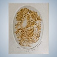 Marsha K Howe, Etching Print Gamble Quail Numbered Limited Edition 1979 Signed by Listed Artist