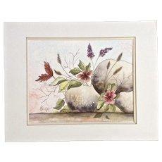 Helga E Blackford, Wildflowers Growing in Rocks Watercolor Painting Signed by Artist