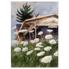 Dante Calise (1927-2014) Wildflowers at Sea Cliff New York, Watercolor Painting signed by Artist