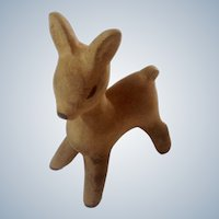 Vintage Wooden Deer Figurine Hand Carved Fawn