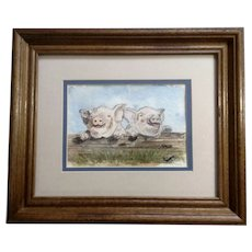 Kay Pendergrass, Piglets in Pig Pen Watercolor Painting Signed by Colorado Artist
