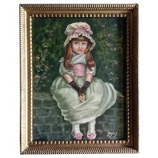 Joyce J, Young Girl in Green Dress Figural Portrait Acrylic Painting on Canvas Signed by Artist