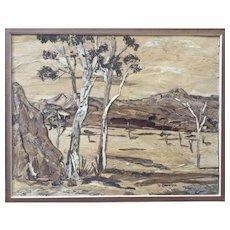 J. Dalton, Eucalyptus Trees in Australian Outback Wood Bark Picture Signed by Artist