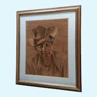 Bettye Joyce Burke (1927 - 2007) Large Old Cowboy Pastel Drawing on Velour Signed by Artist