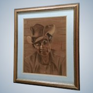 Bettye Joyce Burke (1927 - 2007) Large Old Cowboy Pastel Drawing on Velour Signed by Artist