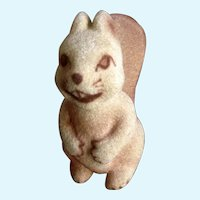 Flocked Fuzzy Squirrel Figurine #238 Animated Cutie Face Ceramic