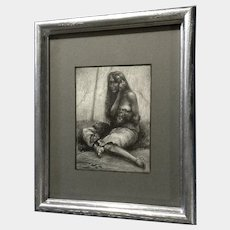 Kee Bahee, Navaho Indian Chick Charcoal Pencil Drawing Signed by Santa Fe, New Mexico Artist 1988