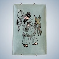 Retro Asian Girl Serving Tray With Exotic Parrot Hand Painted Ceramic Signed By Artist Rita
