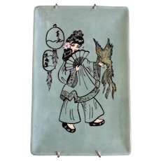 Retro Asian Girl With Exotic Parrot Hand Painted Ceramic Tray Signed By Artist Rita