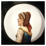 Large Victorian Beautiful Lady Portrait Oil Painting on Concave Porcelain with Green Velvet Boarder