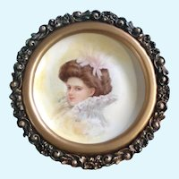 E Behm, Victorian Lady Portrait Porcelain Oil Painting in Round Frame Signed By Artist