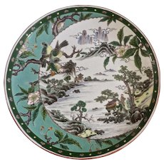 Large Hand Painted Asian Charger Plate Bowl Birds, Mountains, Flowers and the Sea Signed By Artist