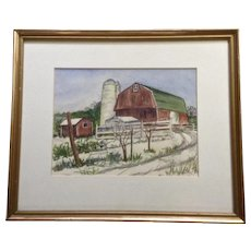 Hazel Yater, Watercolor Painting Old Red Barn with Grain Silo Works on Paper Signed by Artist