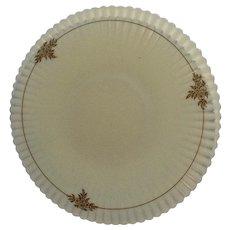 Vintage Vaseline Glass Platter & 4 Plate Set Ruffle Rim with Gold Floral Motif