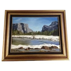 M. Painter, Upper Yosemite Valley Plain Air Landscape Oil Painting Signed by Artist
