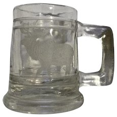 Vintage Glass Elk Colorado Etched Miniature Beer Stein Shot Glass Souvenir