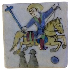 Antique Persian Ceramic Tile Polo Horseman 19th Century Islamic Pottery Middle Eastern Qajar Period