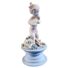 Early Susi Singer California Studio Art Pottery Hand Sculpted Child Holding a Baby Goose Figurine Pastel Colors 259