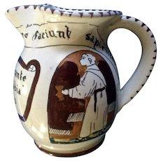Vintage Italian Souvenir Hand Painted Art Pottery Pitcher Ristorante Alla Badia Made in Italy