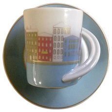 Rosenthal Studio Line Espresso Cup and Saucer Sammeltasse NR 16 S Tapio Wirkkala Collectors  Series Germany Rare Cityscape Retired
