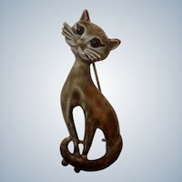 Vintage Long Neck Cat Pin Animal Enameled Metal 1970's