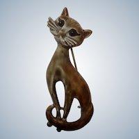 Vintage Long Neck Cat Pin Animal Enameled Metal 1970's