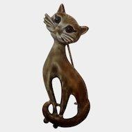 Vintage Long Neck Cat Animal Enameled Metal Pin 1970's