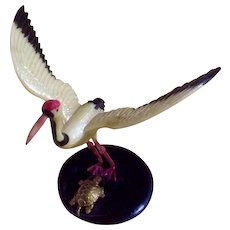 Vintage Celluloid Crane by a Turtle Hand Painted Figurine Made in Japan