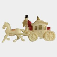 Celluloid Coach with Horse Hand Painted Made in Japan Figurine 1930's-1940's Miniature Toy