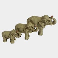 Vintage Putz Lineol Elastolin Germany Elephant Family Figurines Trunk Up Composition 1920's-1940's